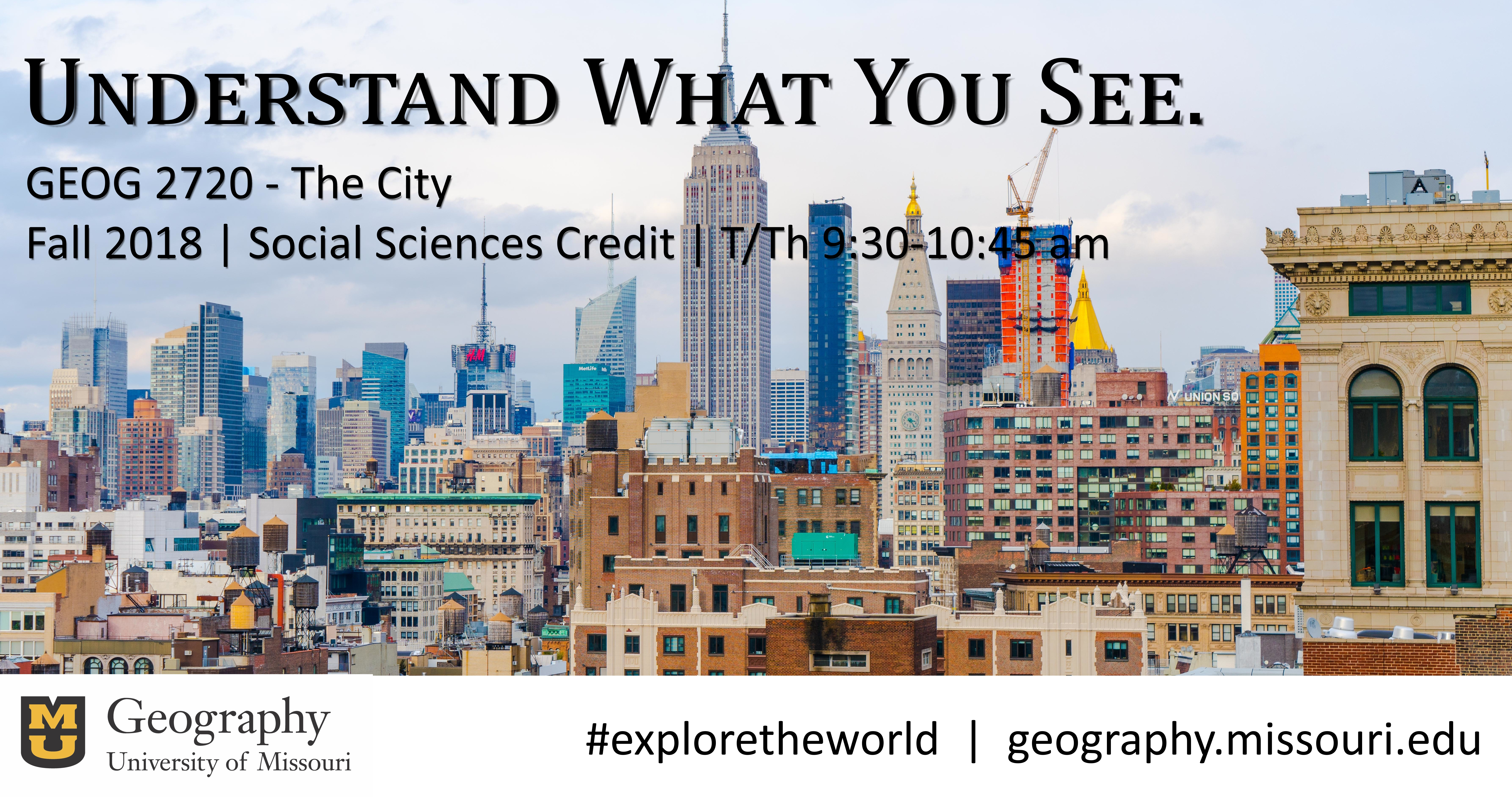 Enroll in Geog 2720: The City