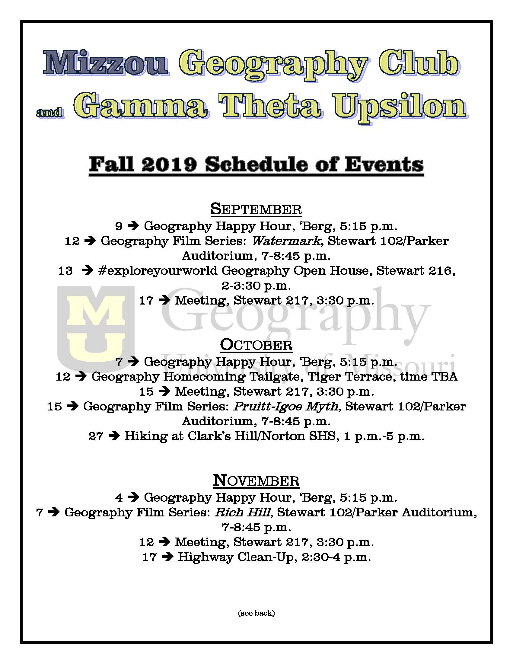 Fall 2019 Schedule of Events