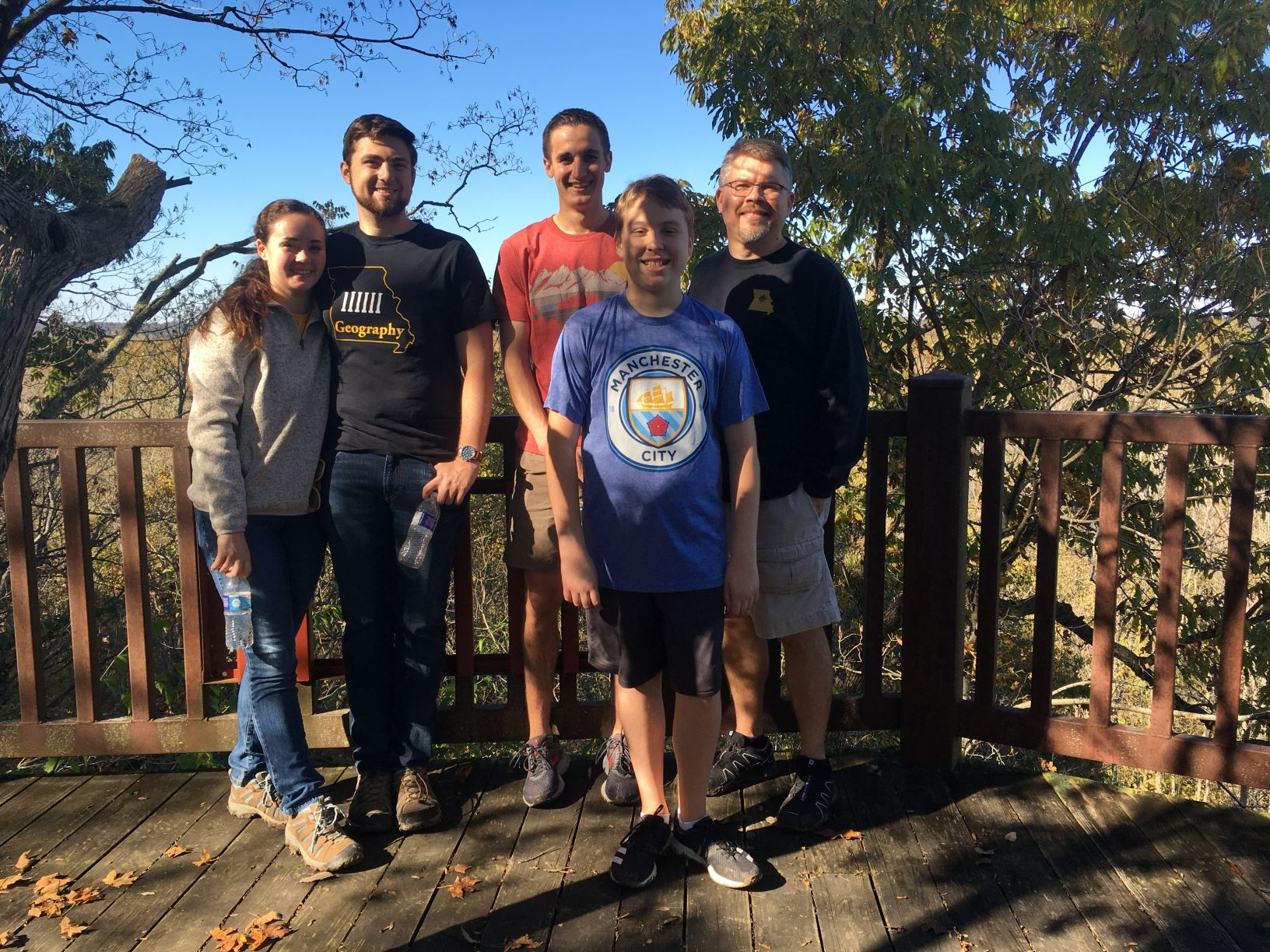 Geography Club-GTU Hike Oct. 27. (L to R) Madeline Clarke, William Bloss, Griffin Johnson, Jackson Hurt and Doug Hurt.