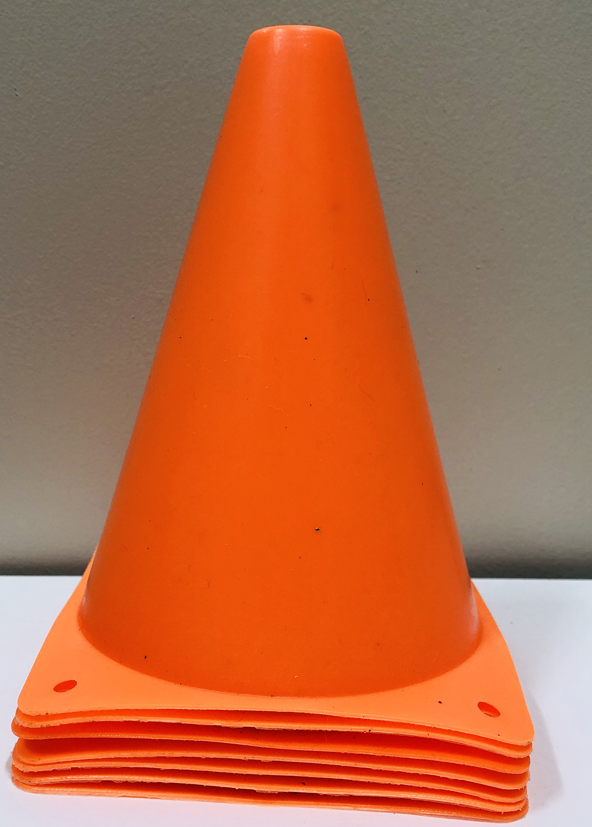 7 small traffic cones