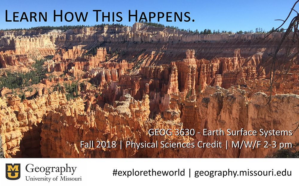 Enroll in Geog 3630: Earth Surface Systems